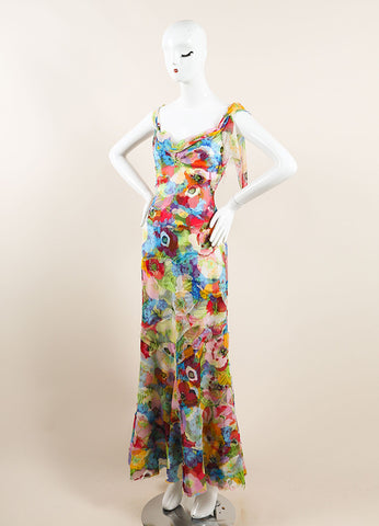 Moschino Multicolor Tropical Floral Print Sleeveless Gown Sideview
