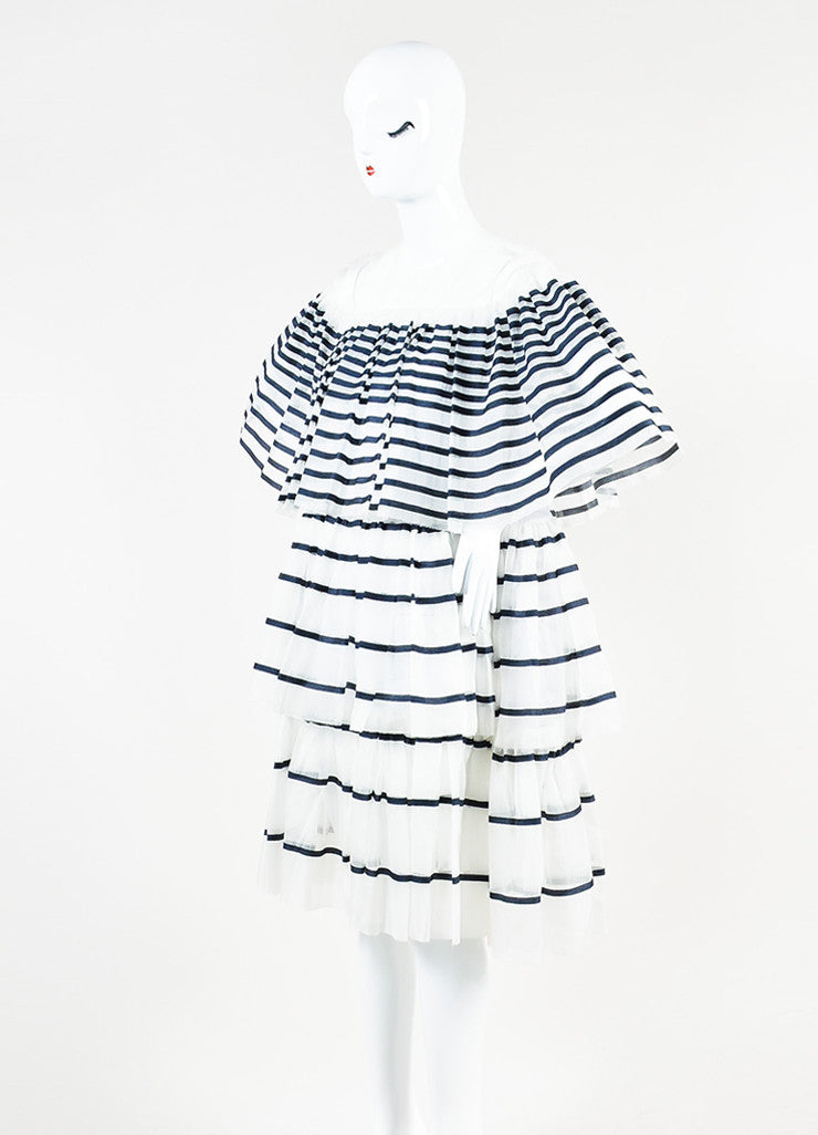 Ms Min White and Navy Silk Organza Striped Tiered Ruffle Short Sleeve Dress Sideview