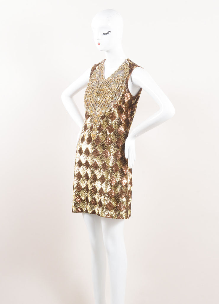 Naeem Khan Gold and Bronze Sequin Embellished and Rhinestone Bib Sleeveless Dress Sideview