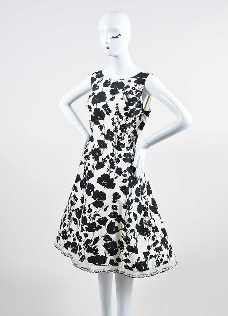 Black White Oscar de la Renta Floral Feather Trim Dress Side