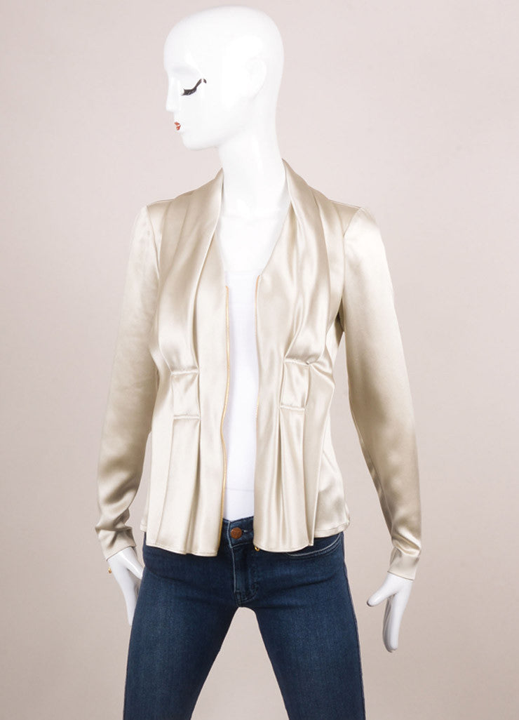 Oscar de la Renta New With Tags Taupe Silk Pleated Zip Up Jacket Frontview