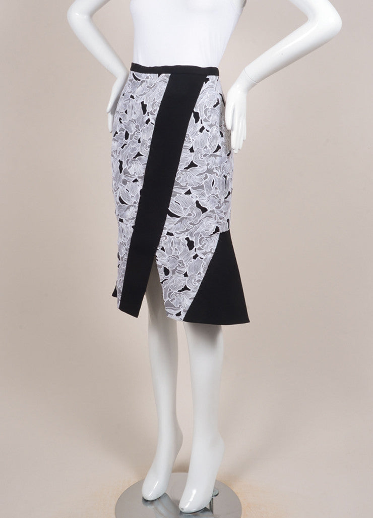 "Peter Pilotto New With Tags Black and White Lace Paneled ""Jane"" Trumpet Skirt Sideview"