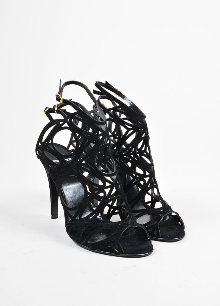 "Black Suede Pierre Hardy ""Lacy"" Geometric Cut Out Sandals Frontview"