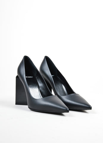 "Black Pierre Hardy Leather Pointed Toe ""Monolite"" Pumps Frontview"