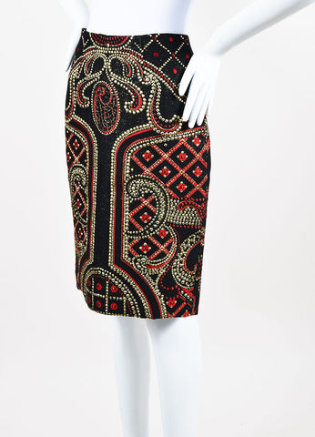 Prabal Gurung Black, Red, and Metallic Gold Wool Blend Brocade Pencil Skirt Sideview