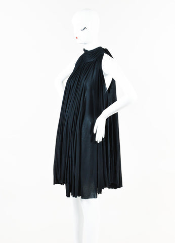 Prada Black Jersey Pleated Tie Neck Pleated Sleeveless Tent Cape Dress Side