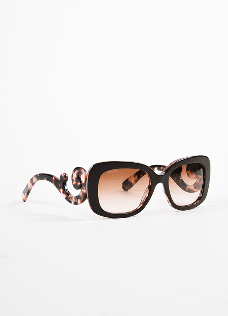"Prada Brown and Purple Tortoiseshell Design ""Minimal Baroque"" Square Sunglasses Sideview"