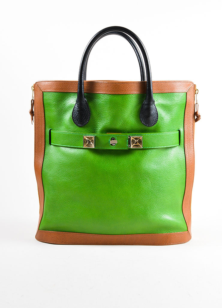 "Proenza Schouler Kelly Green, Brown, and Black Leather ""PS11"" Tote Bag Frontview"