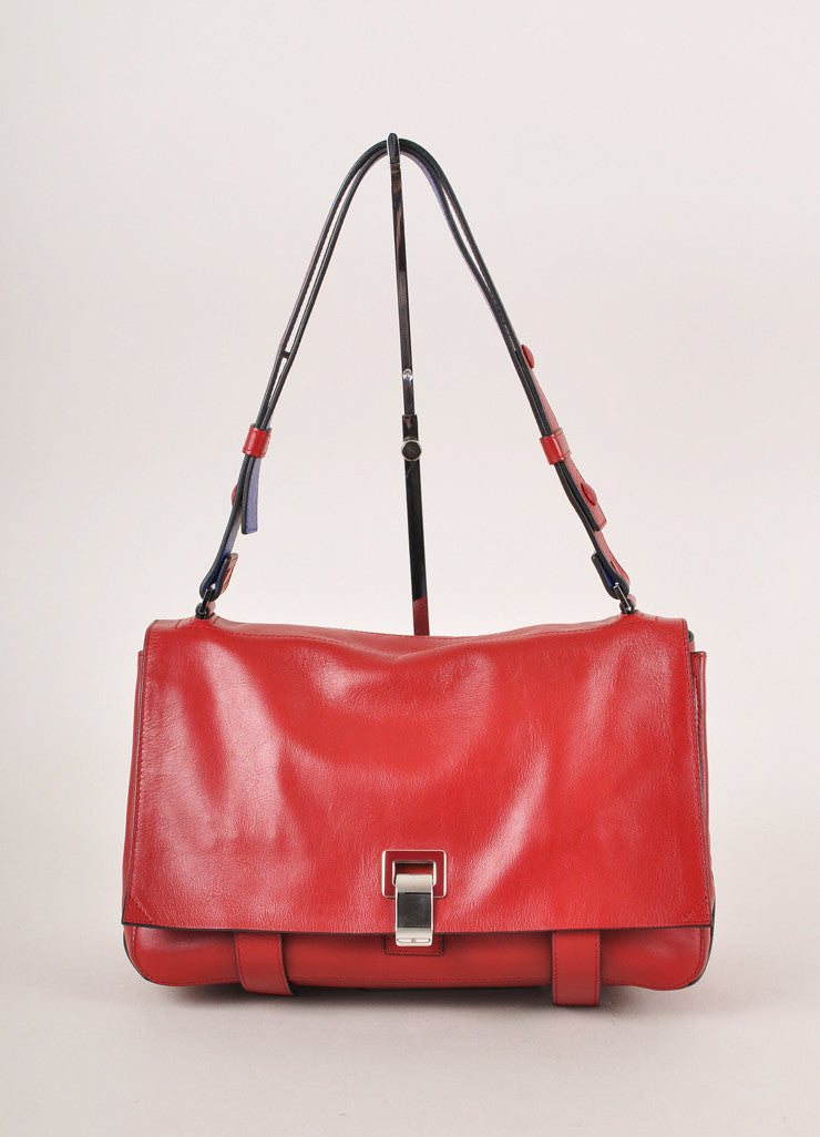 "Proenza Schouler New With Tags Red Leather Flap with Clasp ""Courier"" Shoulder Bag Frontview"