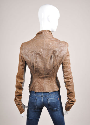 Rick Owens Brown and Grey Crinkle Leather Rib Knit Trim Fitted Jacket Backview