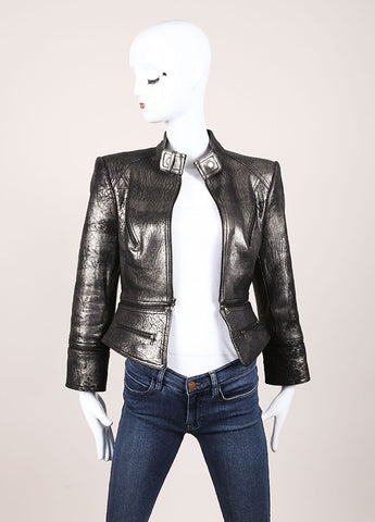 Robert Rodriguez Silver Leather Metallic Convertible Long Sleeve Jacket Frontvie