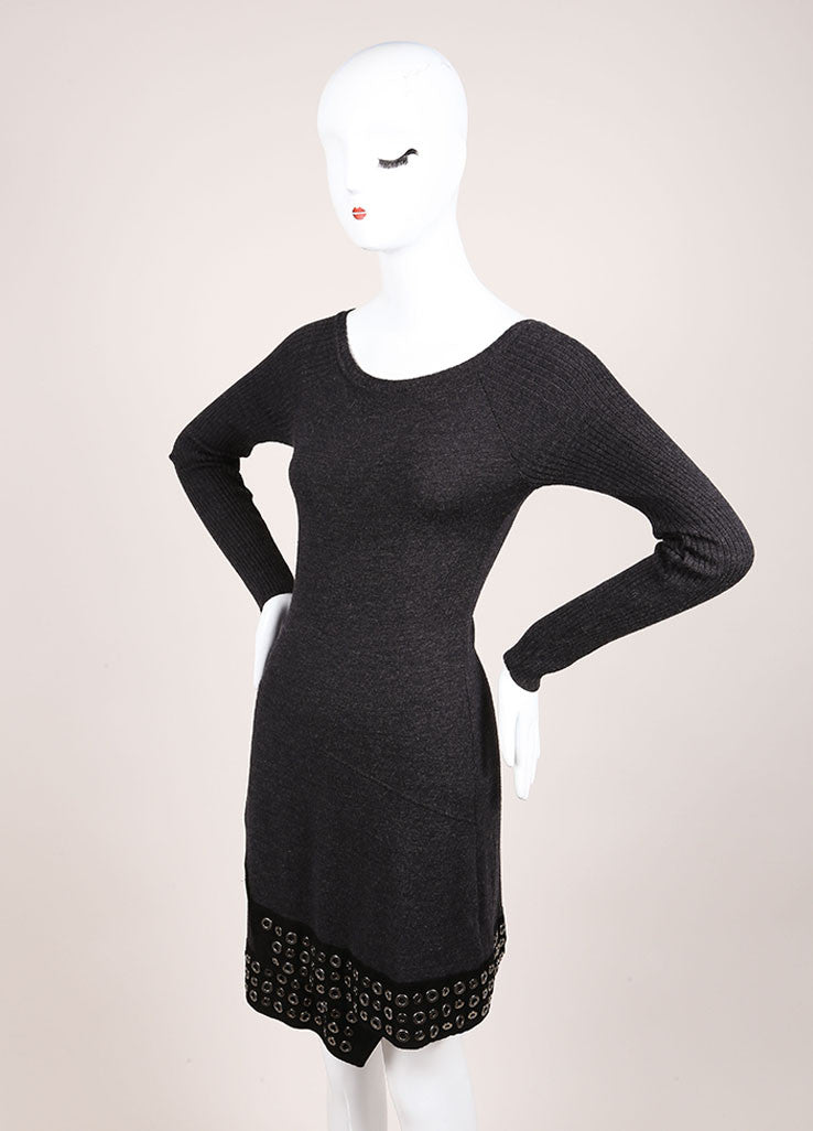 Roberto Cavalli Grey Wool Suede Leather Trim Grommet Sweater Dress Sideview