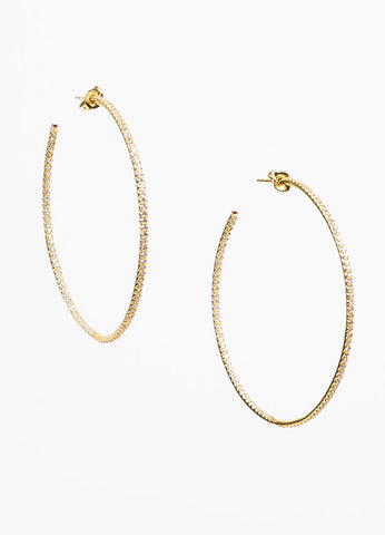 "Roberto Coin 18K Yellow Gold Diamond Ruby Accent ""Inside Out"" Hoop Earrings Frontview"