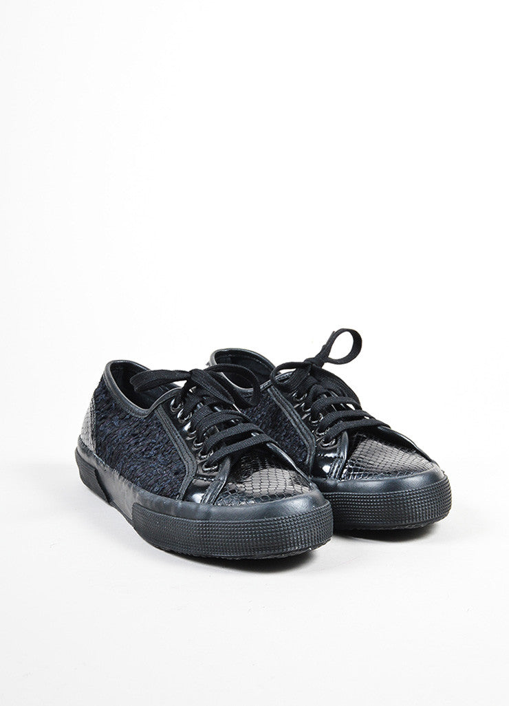 Rodarte Black Snakeskin Embossed Tennis Shoes Frontview