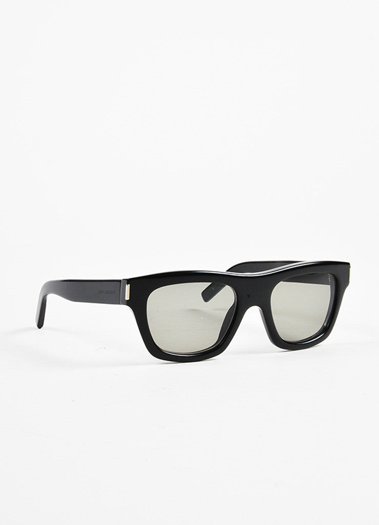 "Saint Laurent Black Thick Framed Rectangular ""Bold 4"" Sunglasses Sideview"