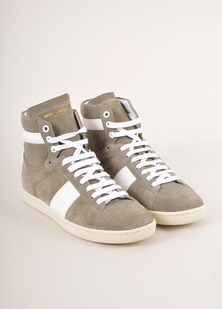 Saint Laurent Grey and White Leather Trim Suede High Top Lace Up Sneakers Frontview