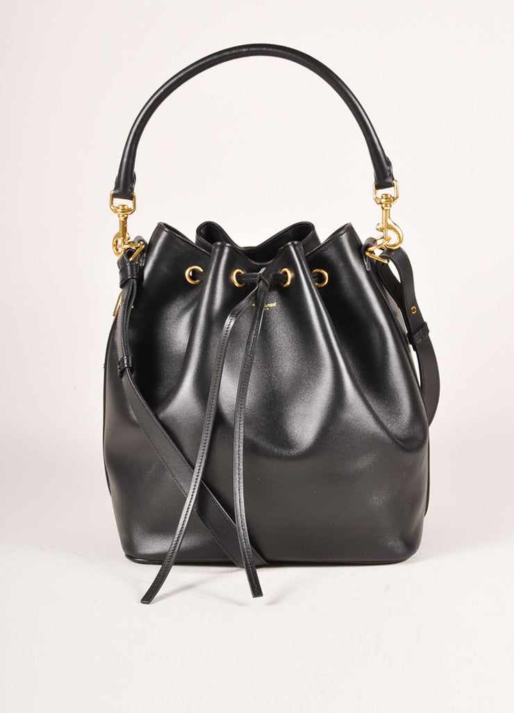 New With Tags Black Leather Medium Bucket Shoulder Bag