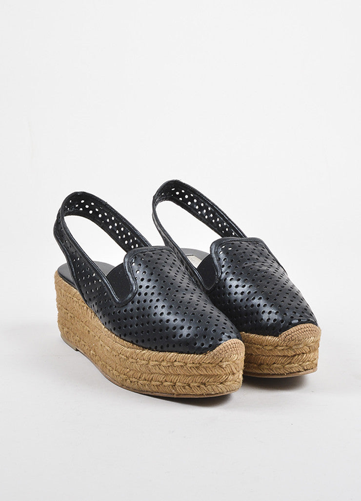 Black Stella McCartney Perforated Faux Leather Espadrille Platforms Front