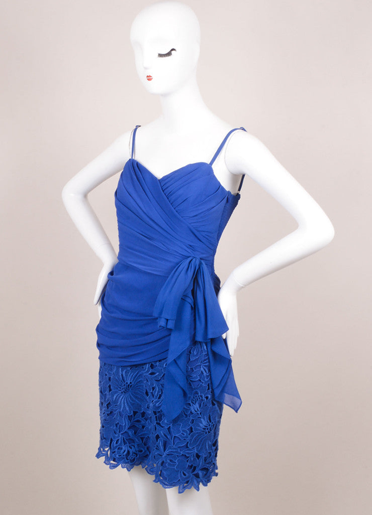 Temperley Blue Silk Lace Ruched Sleeveless Dress Sideview