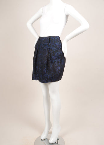 Thakoon Blue and Black Brocade Bubble Skirt Sideview