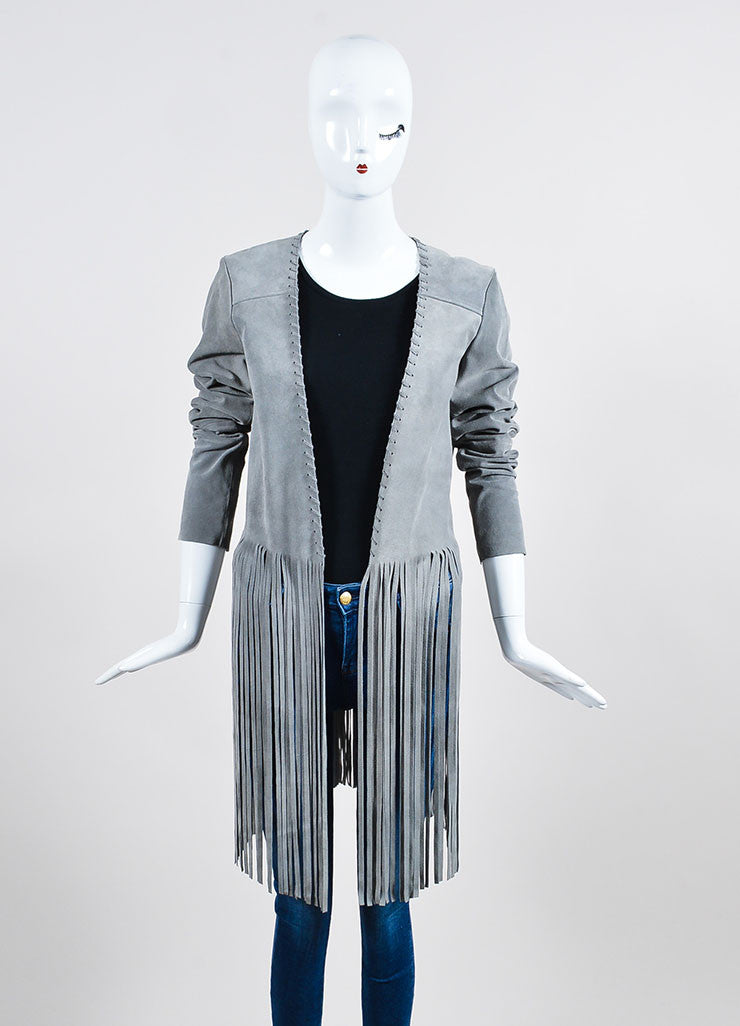 "The Perfext Grey Suede Stitched ""Christy"" Fringe Jacket Frontview"