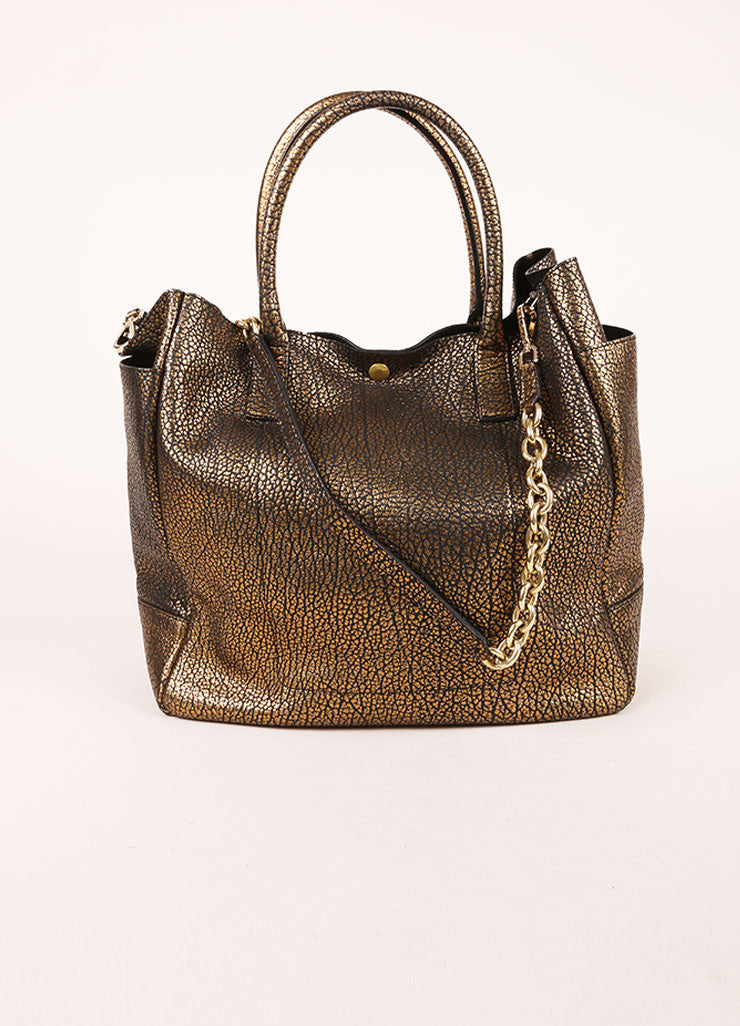 "Tiffany & Co. Gold Metallic Pebbled Leather Chain Strap ""Riley"" Tote Bag Frontview"