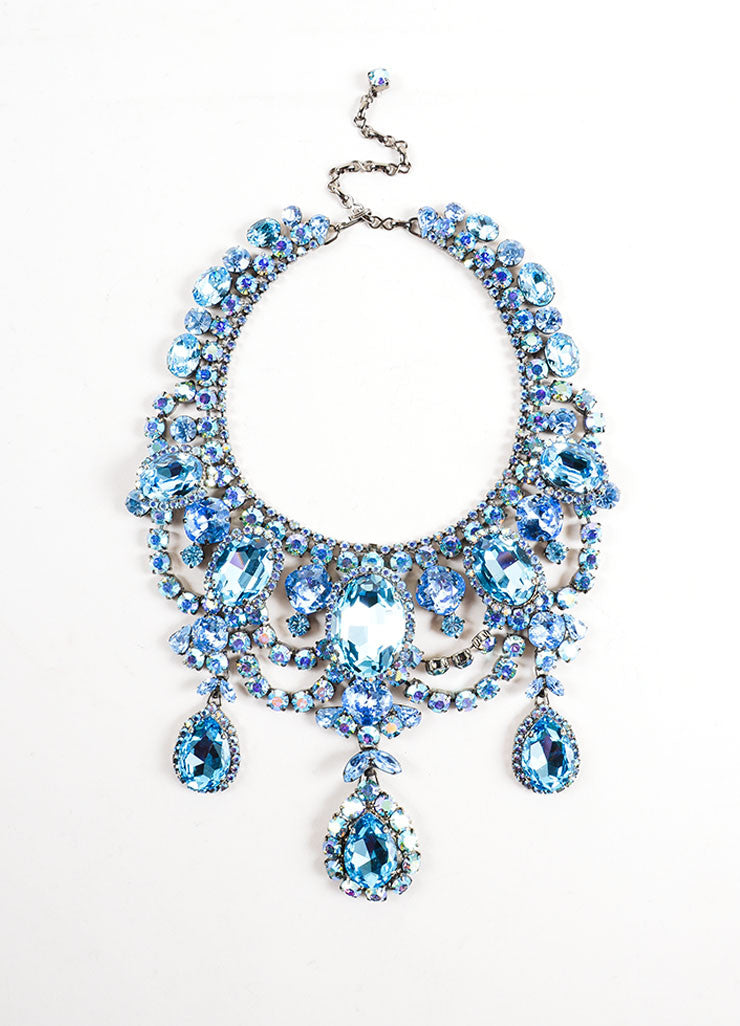 Chrome Toned and Blue Timothy Szlyk Thorin & Co. Rhinestone Necklace Frontview