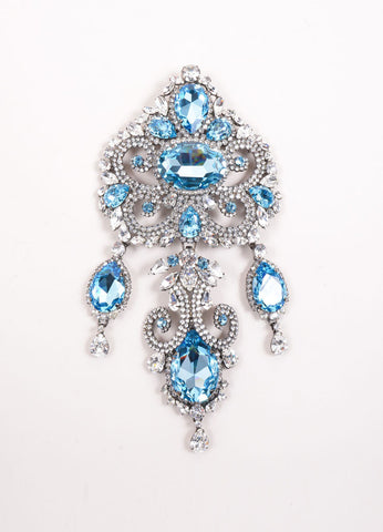 Timothy Szlyk Thorin & Co. Rhinestone and Blue Stone Oversized Ornate Dangle Pin Frontview