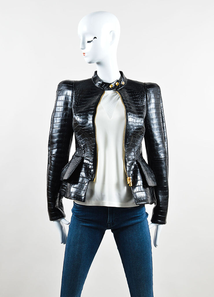 "Tom Ford Black Crocodile Leather Peplum ""Scuba"" Moto Jacket Frontview"