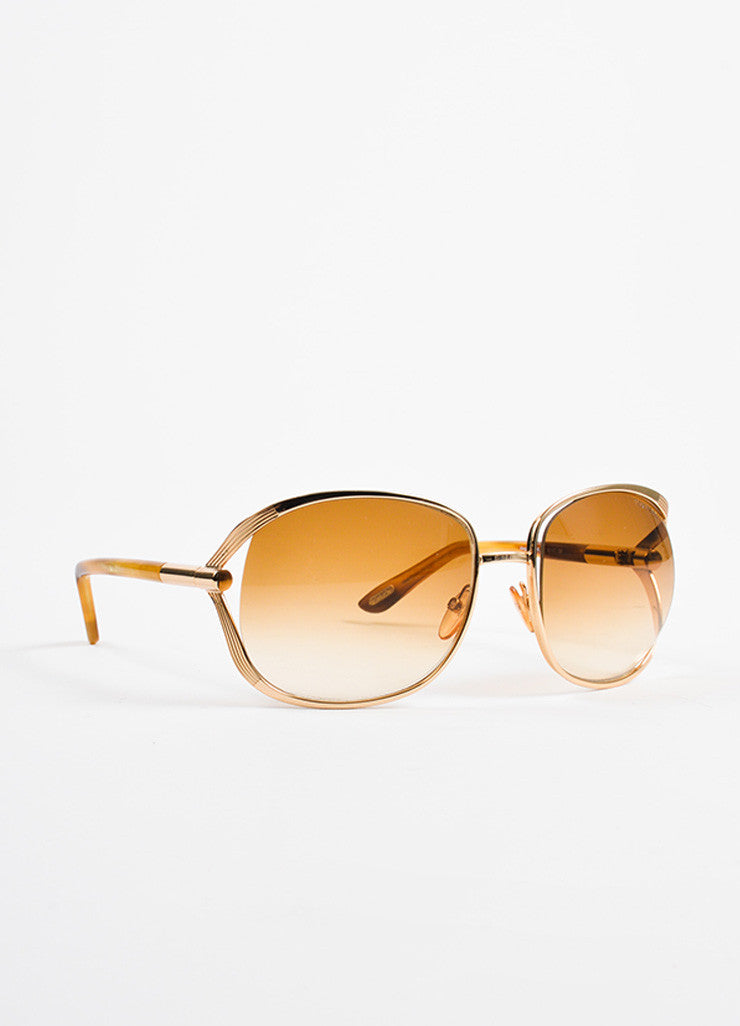 "Tom Ford Gold Toned and Tortoise ""Margaux TF 40"" Oversized Sunglasses Sideview"