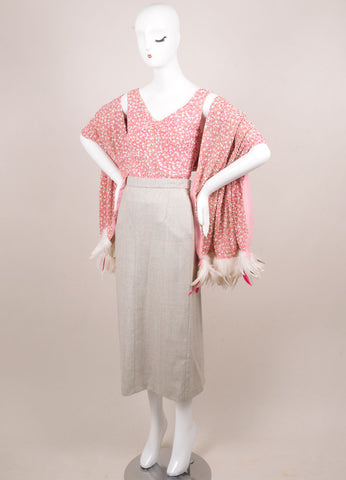 Tuleh Pink and Grey Beaded Three Piece Outfit Sideview