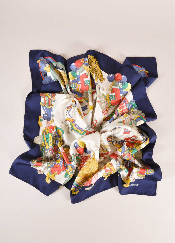 Burberry Navy, Cream, and Multicolor Circus Print Silk Scarf Frontview