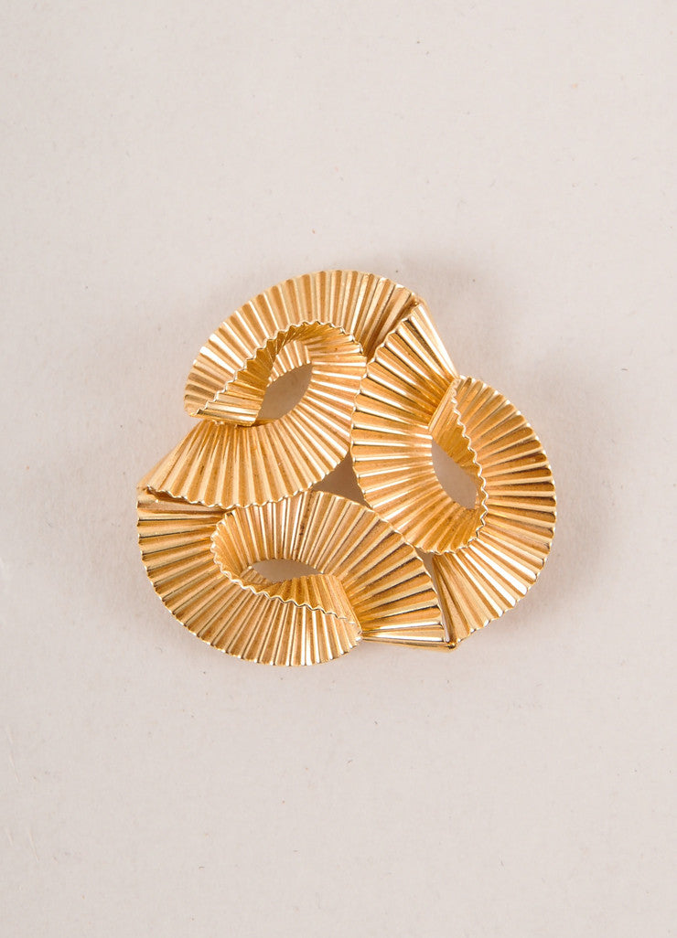 Cartier 14K Gold Triple Wave Pin Brooch Frontview