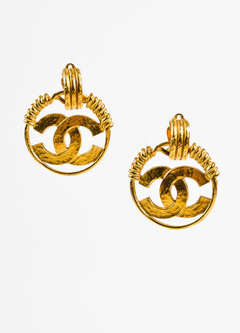Chanel Gold Toned Hammered Coiled 'CC' Logo Hoop Clip On Earrings Frontview