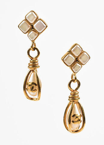 Chanel Gold Toned Faux Pearl 'CC' Logo Teardrop Clip On Earrings Frontview