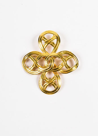 Chanel Gold Toned Woven Swirl Cut Out 'CC' Cross Brooch Pin Frontview