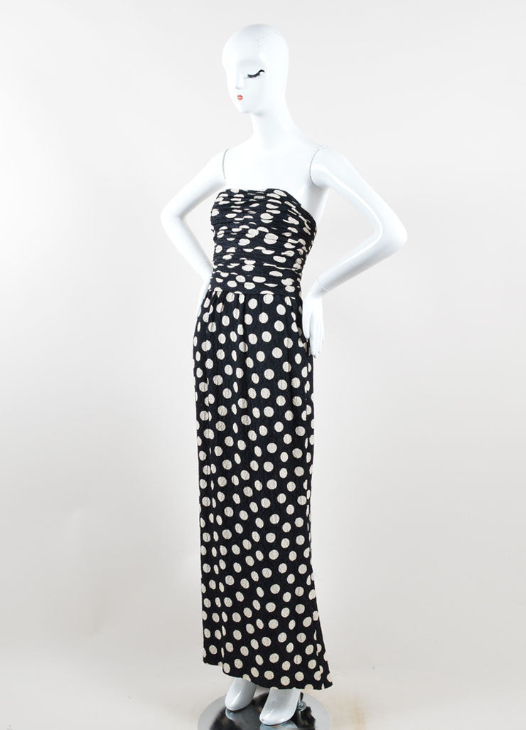 Chanel Black and Cream Polka Dot Ruched Hammered Silk Strapless Gown Sideview