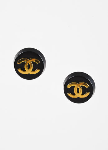 Black & Gold Chanel Oversized Round Button 'CC' Clip On Earrings Front