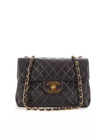 Chanel Black Lambskin Leather 'CC' XL Jumbo Flap Bag Frontview