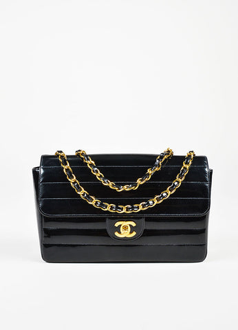Chanel Black Patent Leather Horizontal Stitch Quilted Gold Toned Flap Bag Frontview