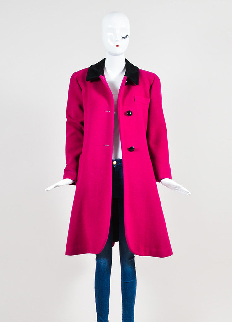 Christian Dior Magenta Pink and Black Velvet Collar Structured Coat Frontview 2