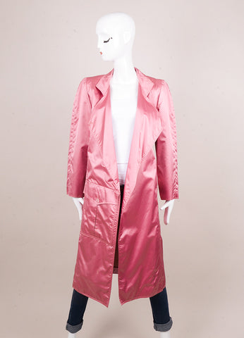 Karl Lagerfeld for Chloe Pink Shiny Oversized Pocket Trench Coat Frontview