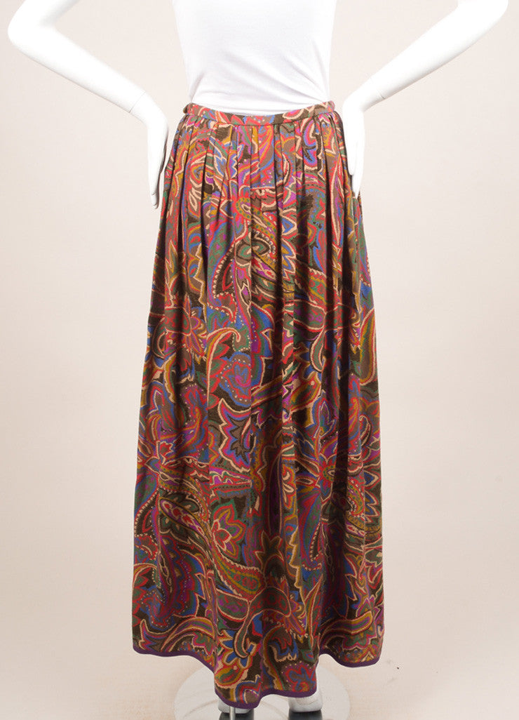Lanvin Red, Blue, and Brown Floral Paisley Maxi Skirt Backview