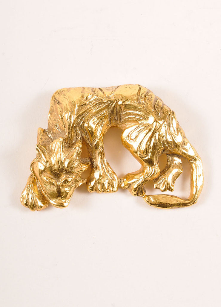Scherrer Gold Toned Prowling Wolf Pin Brooch Frontview