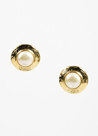Yves Saint Laurent Gold Toned Metal and Faux Pearl Round Clip On Earrings Frontview