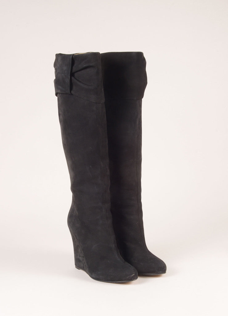 Valentino Black Suede Leather Knee High Wedge Boots Frontview