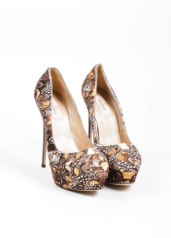 "Brown and White Valentino Feather Print Pony Hair Platform ""Rockstud"" Pumps Frontview"
