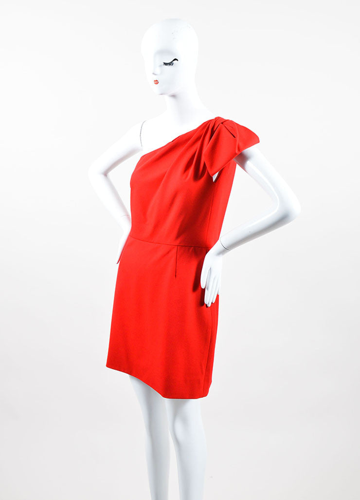 Red Woven Valentino Couture One Shoulder Short Dress Side