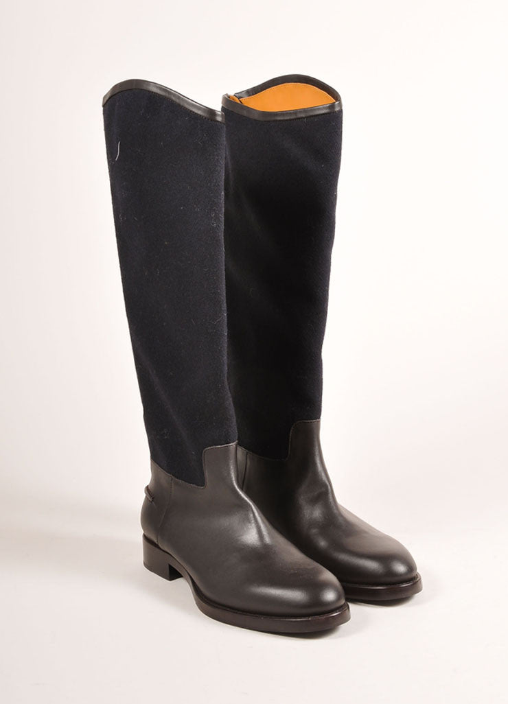 Veronique Branquinho New In Box Black and Brown Leather and Wool Knee High Boots Frontview