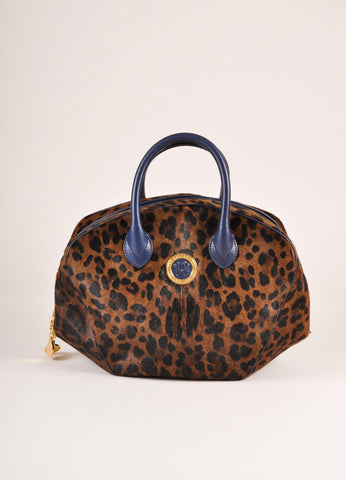 Versace Black and Brown Leopard Print Pony Hair Bowler Bag Frontview
